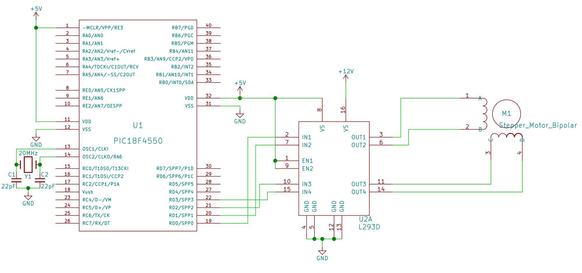 Unipolar Stepper Motor With Pic Microcontroller Using L293d Circuit Pin Diagram Interfacing Openlabpro Com Rh
