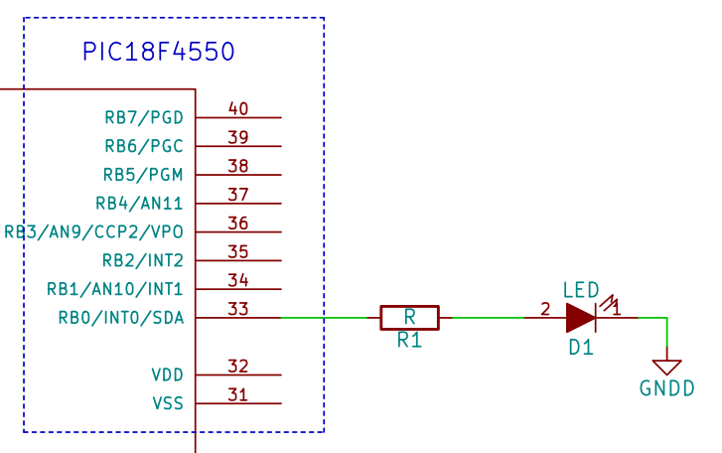 LED interfacing with PIC18F4550