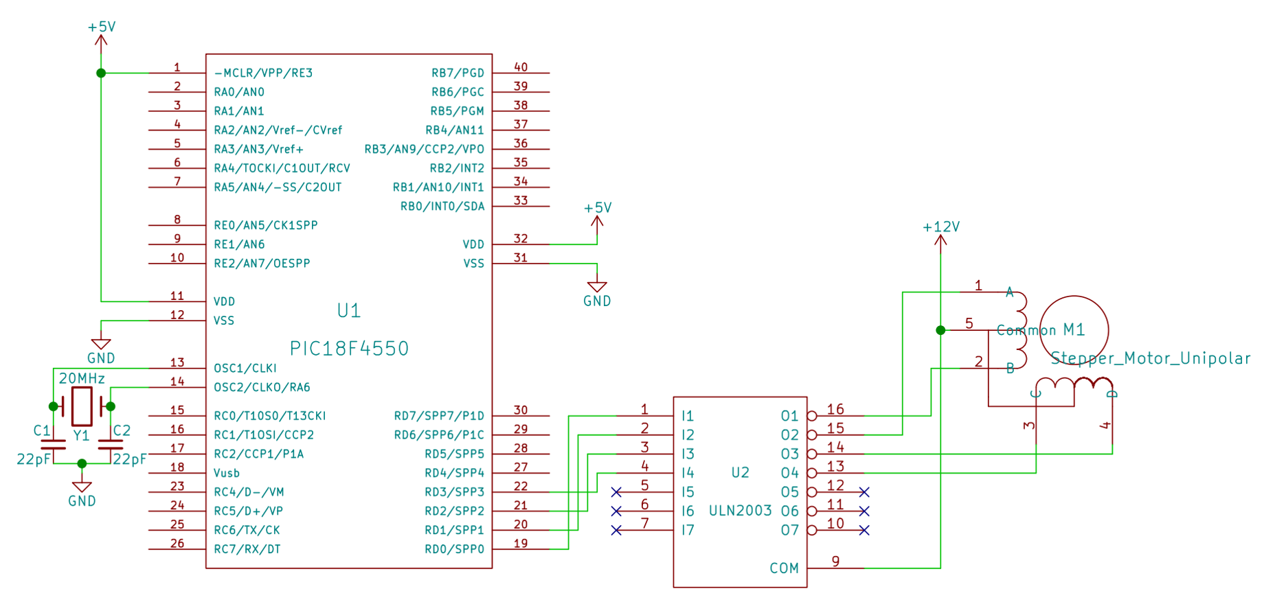 Interfacing Stepper Motor With Pic Microcontroller Control Circuit Diagram Forward Reverse Unipolar Using Uln2003