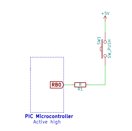 Push button interfacing with PIC - sourcing microcontroller