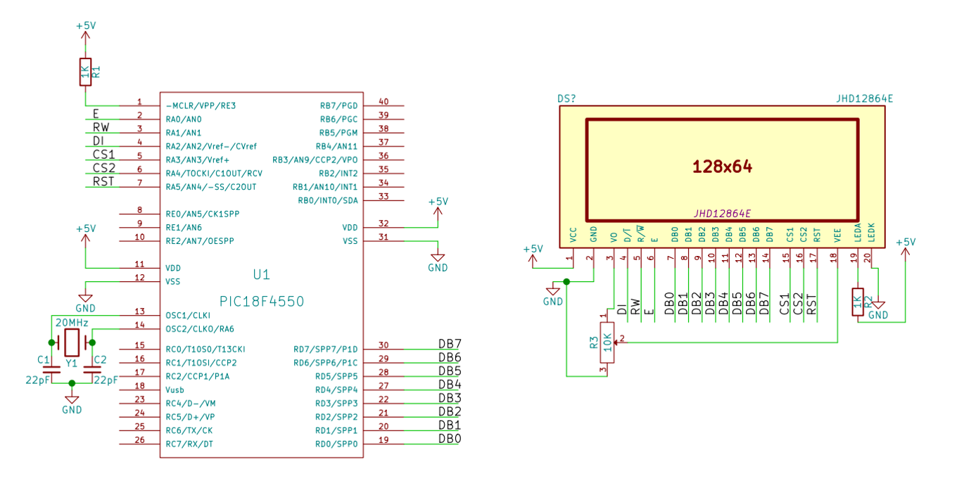 Ks0108 Graphic Lcd Interfacing With Pic18f4550 Part 1 Pickit 3 Circuit Diagram
