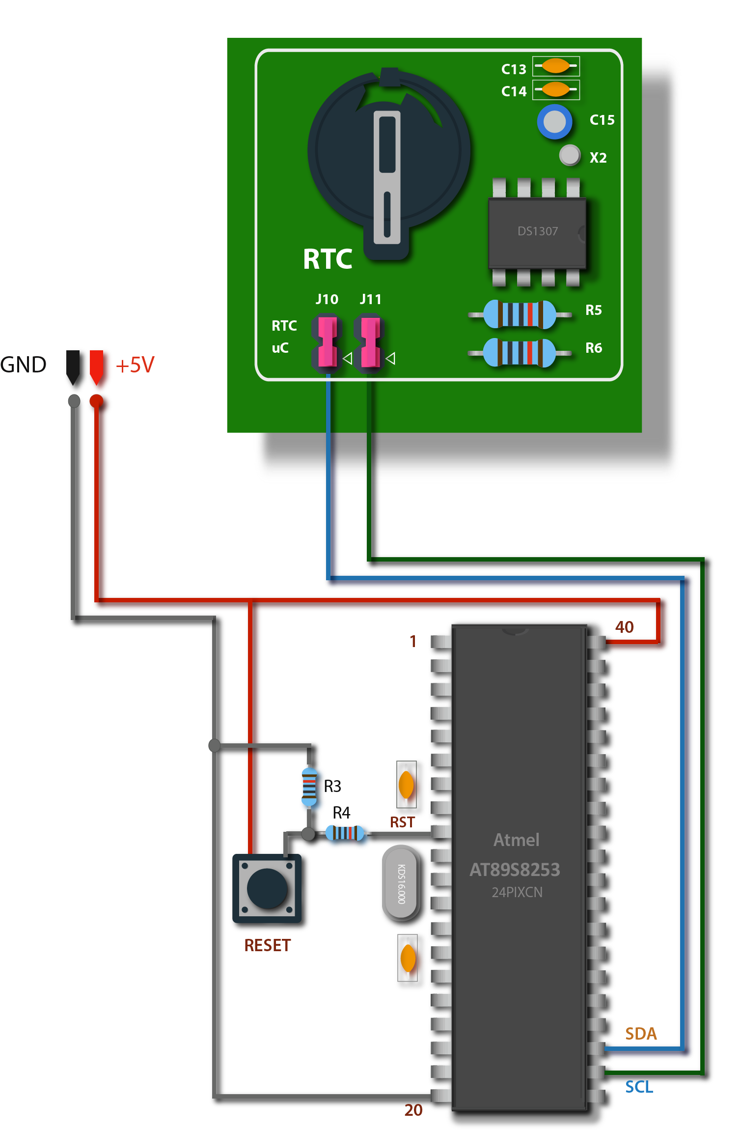 Rtc Hookup Guide At89s8253 Digital Clock Using 8051 Microcontroller With Ds1307 Interfacing