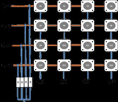 Matrix keypad - pull down mode